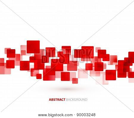 Red  shiny squares technical background. Vector