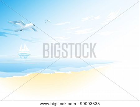 Seascape with sea, cloud and flying seagull