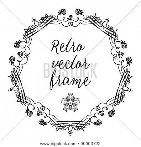 Retro floral frame for design, leaflet, cards, invitation and so on.