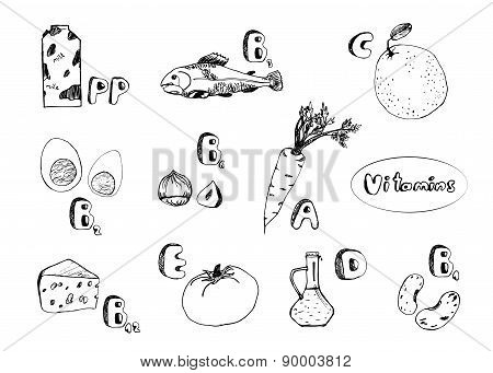 Monocolor Set Of Basic Vitamins From Food