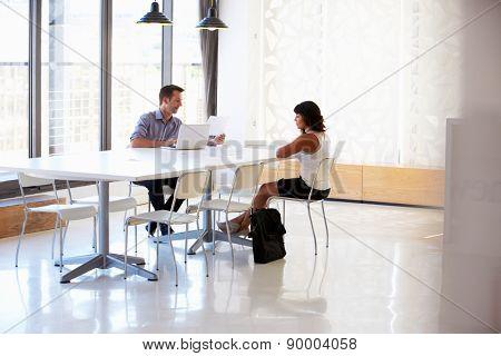 Businessman interviewing a job applicant