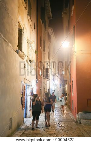 Tourists Walking In Rovinj