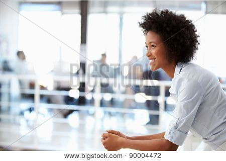 Portrait of smiling woman in office, side view