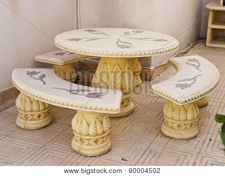Stone table and seats