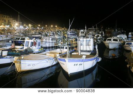 Boats In Marina At Night