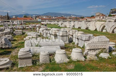 Agora Ruins With Flowers