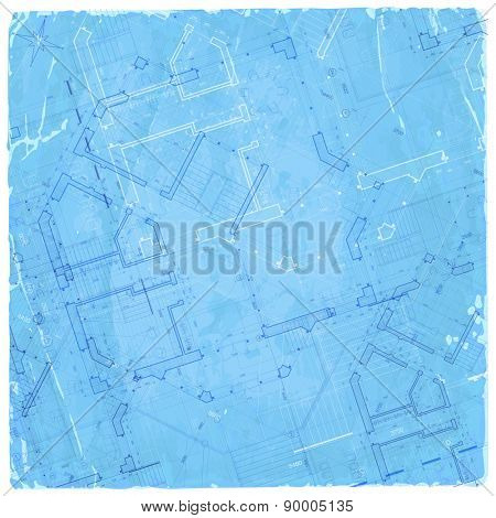 architecture blueprint - house plan / vector illustration / Eps10