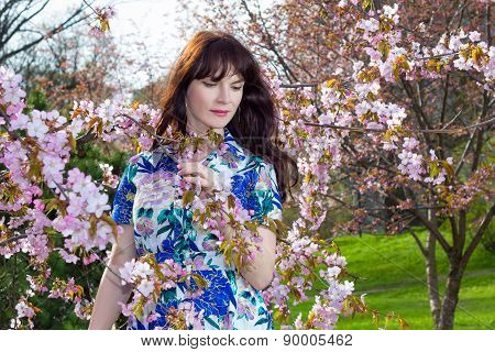 Portrait Of Beautiful Woman Posing With Sakura Flowers In Park