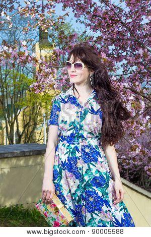 Portrait Of Beautiful Woman Posing Over Blooming Sakura Tree In Park