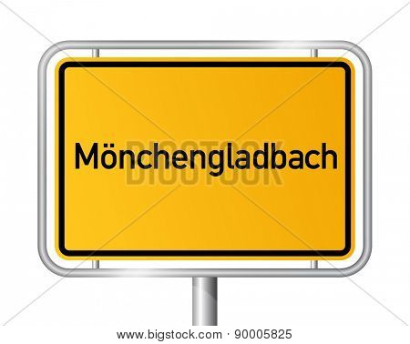 City limit sign Monchengladbach - signage - Germany poster