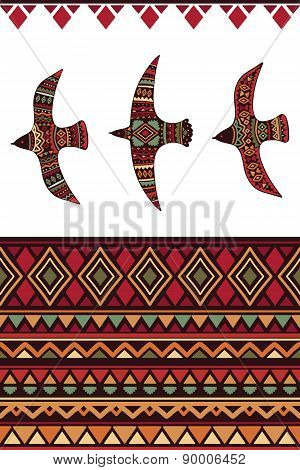 Vector seamless tribal pattern with rhombus, triangles, stripes and tribal birds