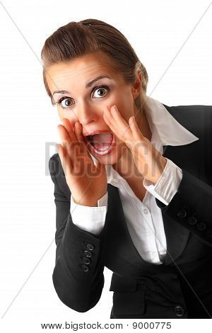 modern business woman  shouting through megaphone shaped  hands isolated on white background