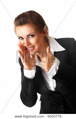 smiling modern business woman reporting good news and  showing thumbs up gesture isolated on white b