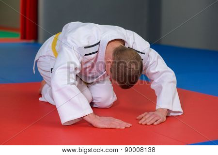 Bowing before judo match