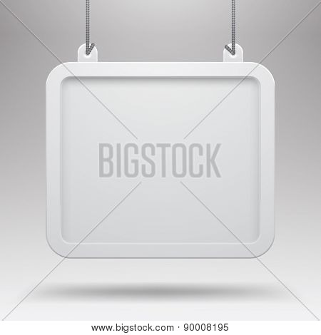 Hanging sign against a light gray background. Empty white framed board. Vector illustration