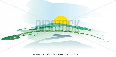 watercolor vector landscape with sun and river
