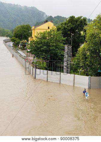 floods 2013. linz, austria. flood and inundation.