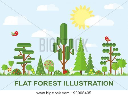 Flat vector tree illustration, spring, flower, spruce