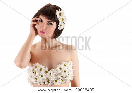 beautiful woman with flowers, fashion bra of chrysanthemums