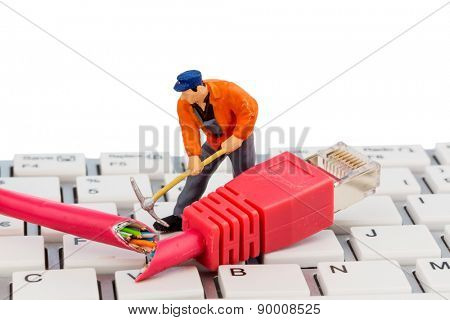 workers, network connector, keyboard, symbol photo for internet, fault, maintenance, problem solving,