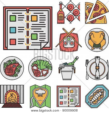 Restaurant flat color vector icons