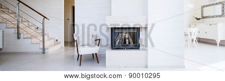 Fireplace Inside The Apartment