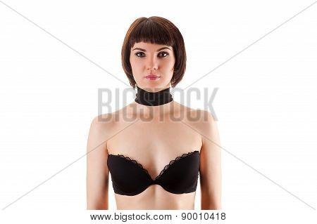 beautiful woman in black bra