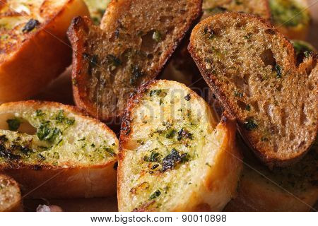 Toasted Bread With Herbs And Garlic Macro. Horizontal, Rustic