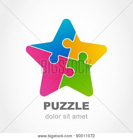 Puzzle Star Multicolor Icon. Vector Logo Design Template. Modern Flat Concept For Business, Logic, D