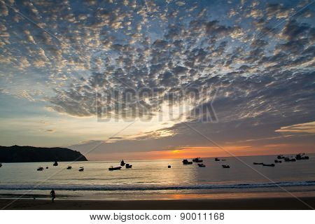 Beautiful sunset view of Salango island in Manabi, Ecuador
