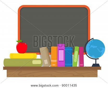 Books and Chalkboard