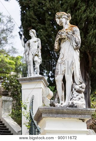 Classical inspired statues on the grounds of the Achillion Palace on the island of Corfu