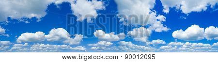 beautiful sky with white fleecy clouds