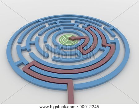 Maze Labyrinth 3D Render With Red Arrow To Target