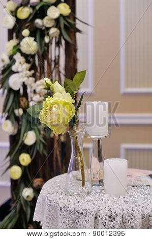 Beautiful White Roses On Wedding Table