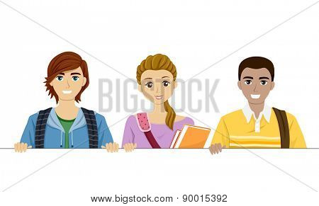Illustration of Teenage Students Holding a Blank Board