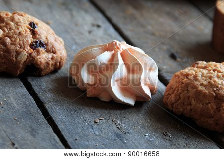Marshmallow On A Wooden Table, Rustic Style