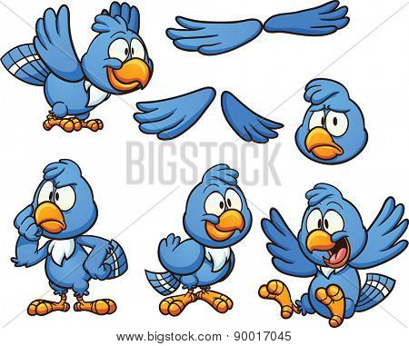 Cartoon blue bird in different poses. Vector clip art illustration with simple gradients. Some of the bird's heads and bodies are on separate layers.
