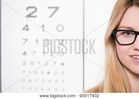Woman And Snellen Chart