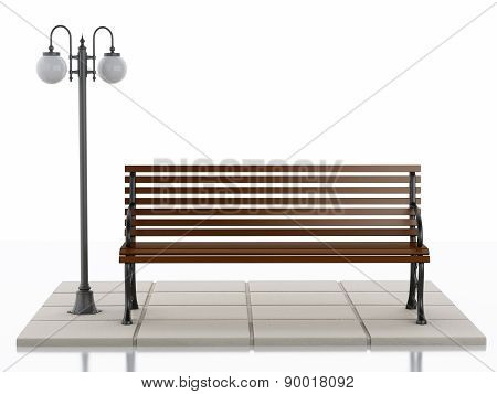 3d Bench and street lamp on white background