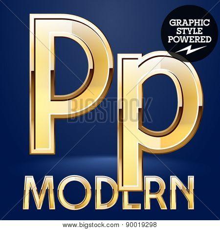 Vector set of modern golden glossy font. Letter P