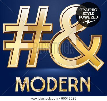 Vector set of modern golden glossy font. Symbols 3