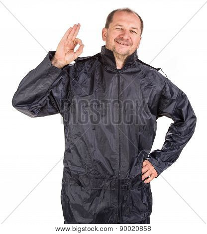 Worker in winter workwear. Isolated on a white background. poster