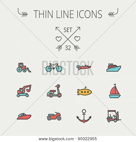 Transportation thin line icon set for web and mobile. Set include- golf cart, trucks, motor, boat, submarine, anchor  icons. Modern minimalistic flat design. Vector icon with dark grey outline and