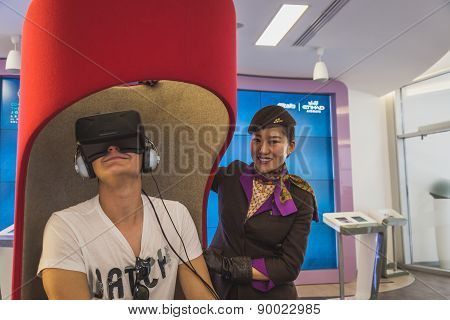 Man Trying 3D Headset At Expo 2015 In Milan, Italy
