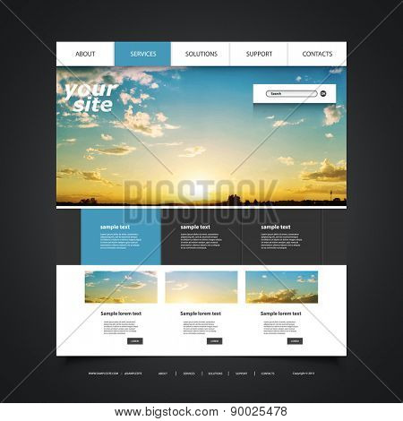 Website Design Template for Your Business with Sunset Photo Background - Blue Sky, Clouds, Sun and Sun Rays