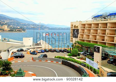Monaco Street And Fairmont Hotel In Monte Carlo