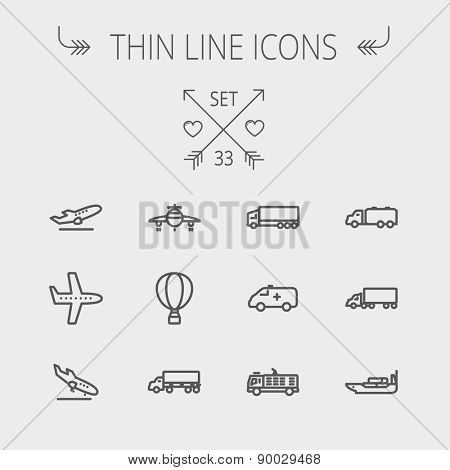 Transportation thin line icon set for web and mobile. Set includes- fire truck, trucks, plane, ships, hot air balloon icons. Modern minimalistic flat design. Vector dark grey icon on light grey