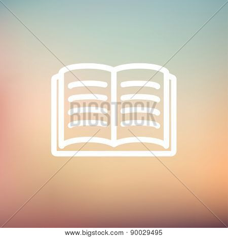 Open book icon thin line for web and mobile, modern minimalistic flat design. Vector white icon on gradient mesh background.