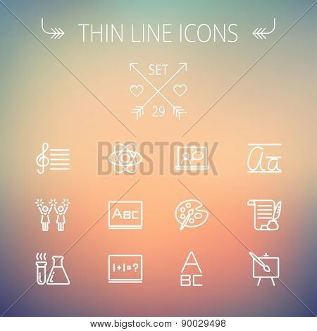 Education thin line icon set for web and mobile. Set includes-palette and paint brush, alphabet, notepad, chart, cheerleaders, medical, supplies  icons. Modern minimalistic flat design. Vector white